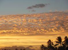 Sun setting over Waikiki Beach, Oahu, Hawaii