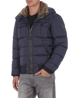 MARC O'POLO Daunen Steppjacke mit Ellenbogen-Patches in Himmelblau | FASHION ID Online Shop