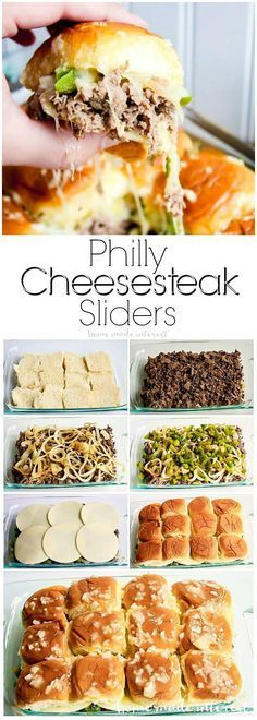These Philly Cheesesteak sliders are a great football party food idea. They are great for feeding a crowd! Make everyone happy at your next game day party with this easy slider recipe! Philly Cheesesteak Sliders are a football appetizer recipe that everyo Philly Cheese Steak Sliders, Chicken Sliders, Philly Cheese Steak Sandwich Recipe Easy, Hamburger Sliders, Turkey Sliders, Meatball Sliders, Sandwich Recipes, Snacks Für Party, Lunch Snacks