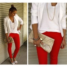 This outfit is a mix of my top favorite trends: red statement, skinny jeans, blazer, and of course her cute ballerina bun!