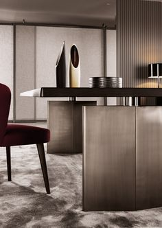 The art of sculpture inspired the confident design of the Minotti Morgan Dining Table. Design Furniture, Furniture Styles, Table Furniture, Cool Furniture, Study Table Designs, Classic Interior, Dining Table Chairs, Office Interiors, Decoration