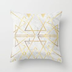 wire gOld triangle Throw Pillow by Simona Sacchi   Society6