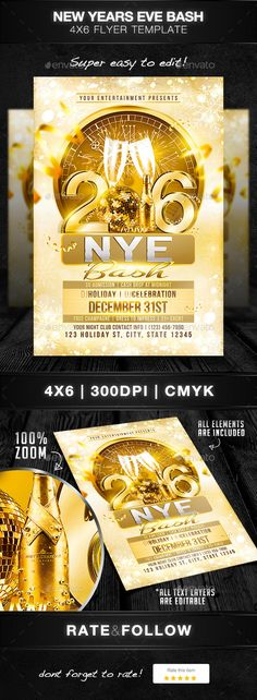 New Years Eve Bash Flyer Template PSD #design Download: http://graphicriver.net/item/new-years-eve-bash/13548496?ref=ksioks