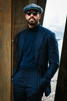 A smartly dressed beard. Street Style & More Details A smartly dressed beard. Street Style & More Details Gentleman Mode, Gentleman Style, Dapper Gentleman, Style Casual, Men Casual, Casual Wear, Cool Street Fashion, Street Style, Black Pinstripe Suit