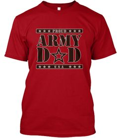 Proud Army Dad T Shirts | Dad Tees Deep Red T-Shirt Front