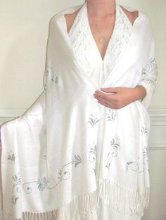 White & Silver Pashmina & Silk Shawl Wrap Bliss a bridal / evening wrap to treasure handcrafted for you in 2 days so each piece is an original beautiful shawl for women who like uniqueness.
