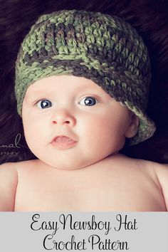 Crochet Pattern - An easy crochet newsboy hat that's perfect for all ages and genders. Includes sizes for babies, kids, and adults. By Posh Patterns.