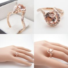 Art Nouveau Ring Rose Gold Morganite Engagement Ring