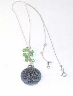 Green Tree of Life Sterling Silver Necklace is a gorgeous necklace using the tree of life symbol, a symbol used in many cultures.