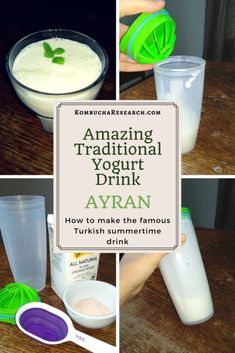How to make Ayran, the traditional turkish yogurt drink. Make your summer parties something special with this probiotic, savory milk drink. Yogurt Drink Recipe, Yogurt Recipes, Turkish Yogurt, Kombucha Recipe, Turkish Recipes, Persian Recipes, Romanian Recipes, Scottish Recipes, Gourmet Desserts