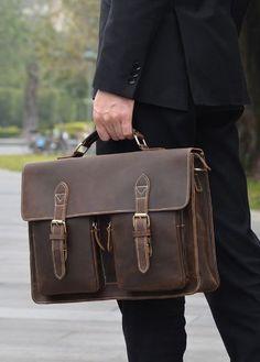 2c1f07cbdc Urban Chic Dark Brown Convertible Organizer Leather Laptop Briefcase for Men…  Laptop Briefcase