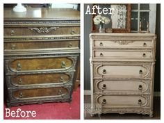 Before And After Of Antique High Boy Painted In White Down By Benjamin Moore Rechic Furniture