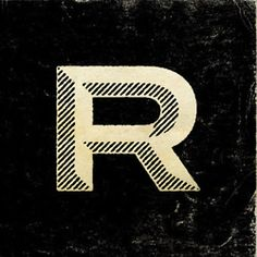 letter r. black and white. drop. bevel. type