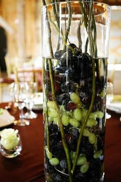 Tall vases with grapes, white lily, greenery, horns? Flower Centerpieces, Wedding Centerpieces, Wedding Decorations, Anniversary Decorations, Fall Wedding, Wedding Ideas, Wedding Reception, Wedding Stuff, Dream Wedding
