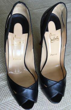 2077ad57c04 Christian Louboutin Black Leather Peeptoe Platform Stiletto Sz 40 US)