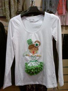 camiseta flamenca - sevillana  blanco/verde camiseta camiseta basica algodon,fieltro  abalorios,tela lunares y puntillas cosida a mano
