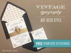 Free Vintage Art Deco Wedding Invitation template | Download & Print http://www.downloadandprint.com/blog/free-template-vintage-wedding-invitation-with-art-deco-band/