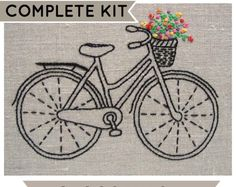 Bicycle embroidery kit, DIY embroidery hoop art, modern hand embroidery patterns, bike embroidery pattern, modern embroidery kits