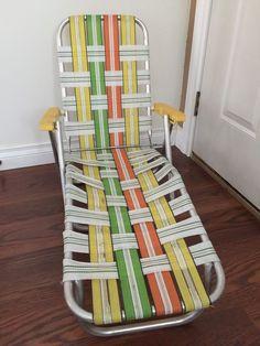Aluminum Webbed Folding Lawn Chaise Lounge Chair Beach Patio Pool Kids Yellow  | eBay