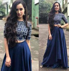 *New Level of Crop-Top Design wear by Shraddha Kapoor lanched by LEMBOGEE* *Code. Indian Lehenga, Lehenga Choli, Lehenga Indien, Lehnga Dress, Shraddha Kapoor Lehenga, Kareena Kapoor, Priyanka Chopra, Bridal Lehenga, Hair