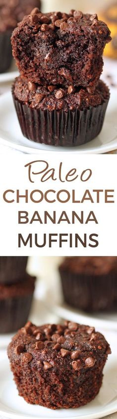 These fudgy paleo chocolate banana muffins are super rich and decadent! (honey sweetened gluten-free grain-free and dairy-free) These fudgy paleo chocolate banana muffins are super rich and decadent! (honey sweetened gluten-free grain-free and dairy-free) Paleo Baking, Gluten Free Baking, Gluten Free Desserts, Dairy Free Recipes, Baking Recipes, Real Food Recipes, Healthy Recipes, Yummy Food, Paleo Muffin Recipes