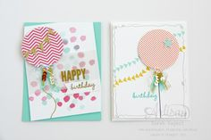 We just love these cards made by one of our Artisan Design Team members, Sarah Sagert. These birthday cards are so colorful and happy.