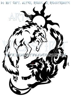 Tribal Hati + Skoll Yin Yang Design by WildSpiritWolf.deviantart.com on @deviantART