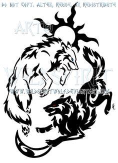 Tribal Hati + Skoll Yin Yang Design by WildSpiritWolf.deviantart.com on @deviantART