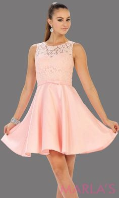 11bd19aac91 Short simple semi formal blush pink dress with lace bodice and satin skirt.  Light pink dress is perfect for grade 8 grad