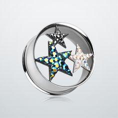 Triple Star Tiffany Inspired Tunnel Ear Gauge Plug