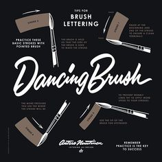 The Dancing Brush was only supposed to be a practice piece. But as I made the vectors I was thinking – should I use my regular white text on black background. But as the text was not filling enough the square IG format I had the idea of making similar guide as you see in dancing steps, and the rest is history. I made my own brush lettering tip artwork. I might make some limited edition hand printed posters in the future. Just have to check my grammar first, heh! :) #lettering #letteringtips…