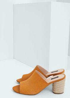 Esparto leather sandals | MANGO