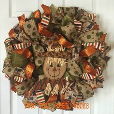 Fall Wreath, Autumn Wreath, Scarecrow Wreath, Thanksgiving Wreath, Harvest Wreath, Burlap Wreath, Mesh Wreaths, Paper Mesh Wreath, Deco Mesh by DecoMeshWreathWorks on Etsy