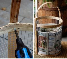 Make a Rustic Basket with Chicken Wire | 27 DIY Rustic Decor Ideas for the Home | DIY Rustic Home Decorating on a Budget