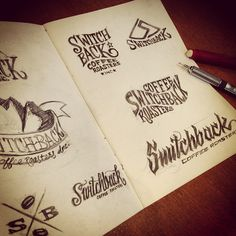 SwitchBack Coffee Roasters logo lettering sketches __ Hand Lettering by [ts]Christer