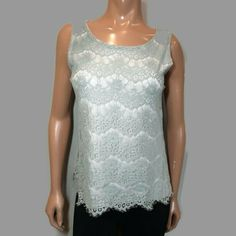 Cleo Mint Lace Sleeveless Top Womens Medium Green White Scalloped Lined Blouse #Cleo #Basic #PartyCocktail Green Lace, Lace Overlay, Mint, Blouses, Medium, Formal Dresses, Pretty, How To Wear, Shirts