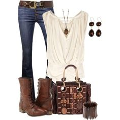 Cream top and jeans made into a cute outfit with the awesome bag. Edgy DYT Type 3 outfit.