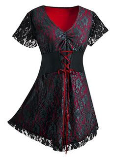 Lacey Corset Top. A layer of elegant black lace and red top.