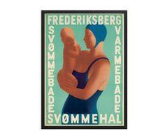 Aage Sikker Hansen, Frederiksberg Svømmehal-svømning.  #Sikkerhansen #plakat #poster #danishdesign #plakatgalleridk