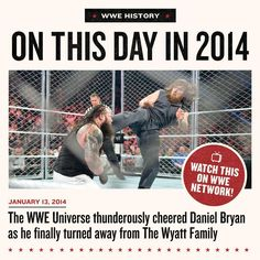 The @WWE Universe came UNGLUED as @bryanldanielson shed his Wyatt Family garb and attacked #BrayWyatt on #RAW ON THIS DAY in 2014! Relive this incredible moment anytime on #WWENetwork...