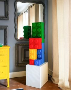 lego storage pieces are from the Container Store Casa Lego, Lego Sculptures, Lego Store, Brooklyn Apartment, Lego Birthday Party, Lego Room, Container Store, Painting Patterns, Textures Patterns