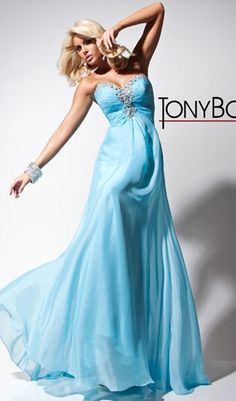 Strapless chiffon and tulle prom dress with ruched bodice and crystals, from Tony Bowls Le Gala.