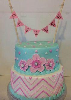 Blue and pink girlie cake