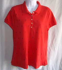 Nautica XL X Large Slim Fit  Coral Anchors Polo Shirt Ladies  #Nautica #PoloShirt #Casual