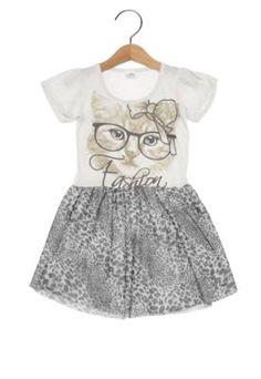 Vestido Polegar Kids Gatinha Fashion Infantil Off-White/Preto