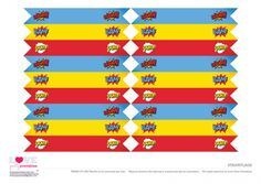 Superhero Party Free Printables   Straw Flags | CatchMyParty.com