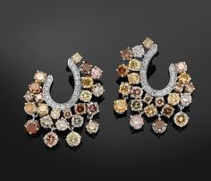 Colored diamonds earrings