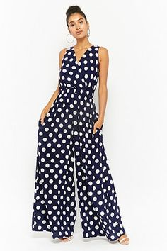 Product Name:Polka Dot Surplice Jumpsuit, Category:dress, - Women's Fashion Trendy Dresses, Casual Dresses, Fashion Dresses, Maxi Dresses, Jumpsuit Damen Elegant, Jumpsuit Lang, Overall Lang, Sparkly Jumpsuit, Pink Jumpsuit