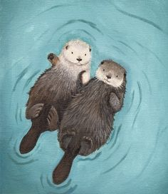 Cute Otter Art print, Holding Hands, Otterly Romantic. From When Guinea Pigs Fly shop.