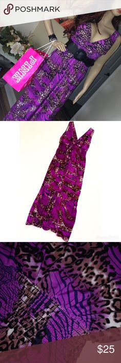 Beautiful Purple Animal Print Maxi Dress XL Make a statement in this elegant yet stunning dress! This maxi dress is an absolute essential for every girl's wardrobe. Make an appearance like never and you'll sure get compliments from ear to ear! You'll love it the moment you put it on. So soft and light. Pair with a black leather or jean jacket for those cooler evenings Dresses Maxi